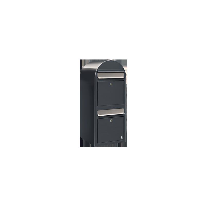 Grey Bobi Duo Extra Large Capacity Postbox